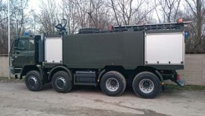 Military fire fighting vehicle
