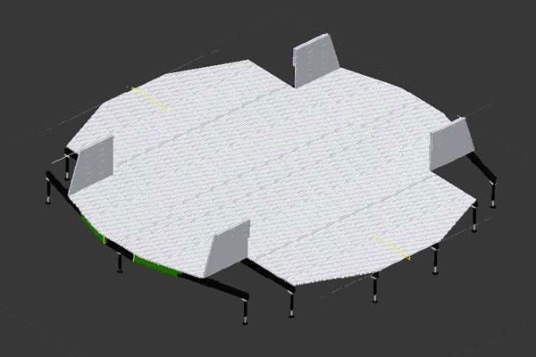 L'elisuperficie mobile Armadillo inizia così l'apertura delle parti laterali.